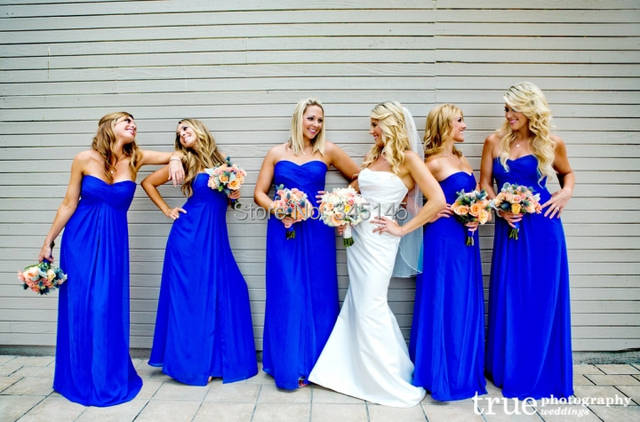 Online Shop Top Selling A Line Sweetheart Royal Blue Bridesmaid Dresses  Long Chiffon Bridesmaid Gowns  977936884a09