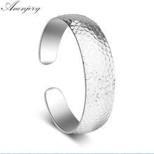 ANENJERY 925 en argent Sterling motif anénergétique large manchette Bracelets & Bracelets pour les femmes pulseras S-B65