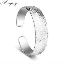 Anenery 925 Sterling Silver Pattern Wide Cuff Bracelets &