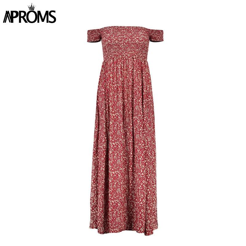 Aproms Sweet Pleated Tube Tunic Maxi Dress Red Floral Off Shoulder High Split Beach Dress Summer 2019 Boho Cool Girls Sundresses
