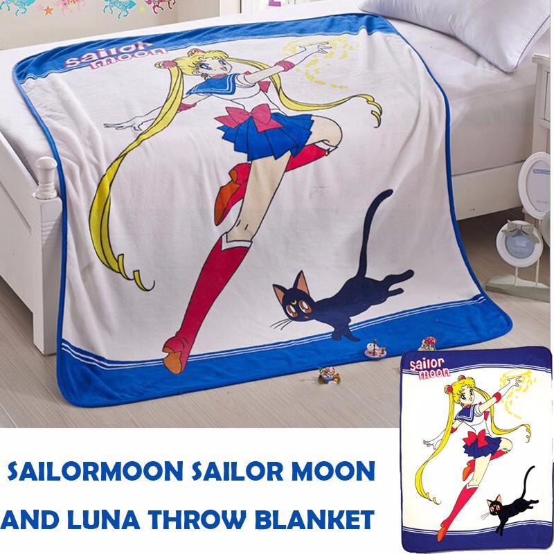Japanese Anime Sailor Moon & Luna Soft Warm Coral Fleece Plush Throw Blanket