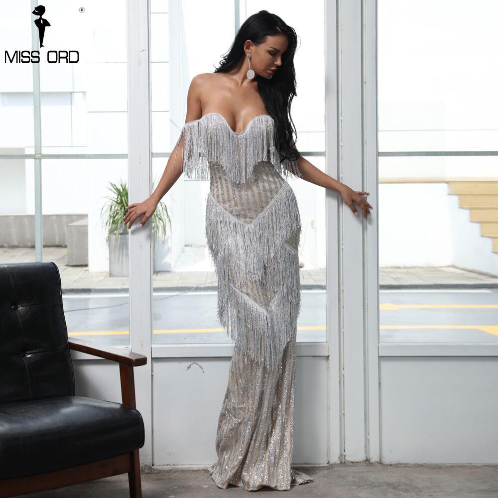Missord 2019 Sexy soutien-gorge épaule dénudée dos nu robes femme gland paillettes Maxi élégante robe de soirée Vestdios FT8303-1