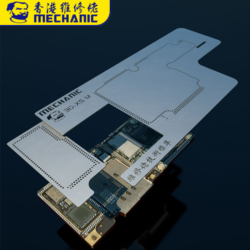 MECÂNICO 3D Kit BGA Reballing Stencil para iPhone XR XS XS MAX Motherboard Camada Média Plantio Estanho Reballing Template Net placa