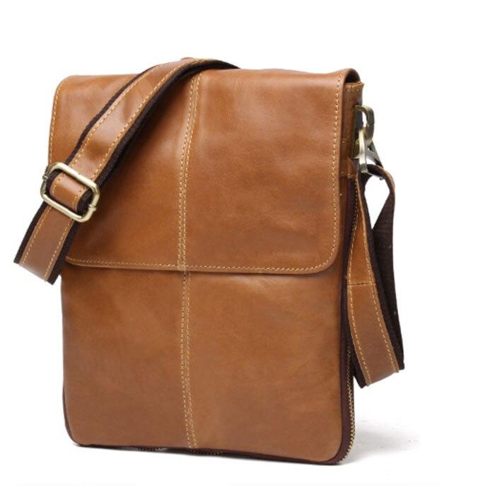 Genuine Leather shoulder bag Men Messenger Bags male small flap Vintage male office laptop crossbody bags for man brown/khaki