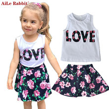 AiLe Rabbit Summer Fashion Girls Set Vest Short Skirt 2 Pcs Suits Letter LOVE Floral Skirt Flower Children's Clothing New k1