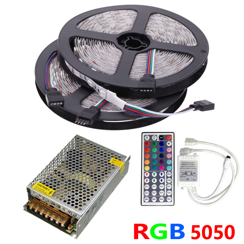 10m rgb led strip 5050 60leds m smd flexible tape ribbon light set ir remote controller dc 12v. Black Bedroom Furniture Sets. Home Design Ideas