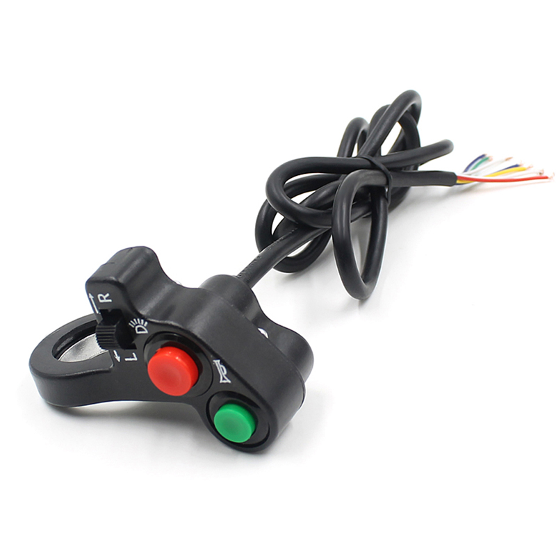 Motorcycle Electric Bike/Scooter Light Turn Signal&Horn Switch ON/OFF Button W/Red Green Buttons Fit For 22mm Dia Handlebars
