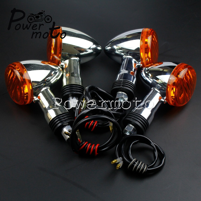 Motorcycle 12V 21W Chrome Front Rear Turn Signal Ligh Amber Lamp Indicator Flasher For SUZUKI Boulevard M109R VRZ1800 2006-2015
