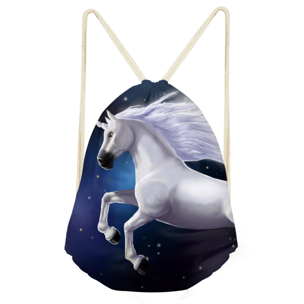 2019 New Children Drawstring Bag Lovely Cartoon Color Unicorn Rainbow Pattern Horse Casual Small Backpacks Girls Drop Shipping