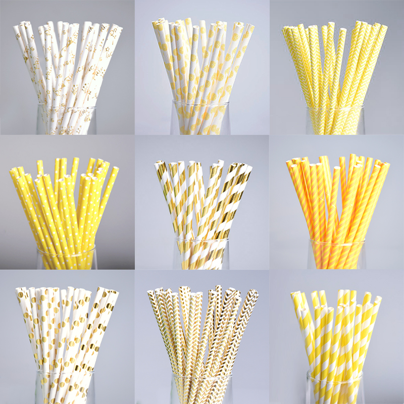 decorative straws for weddings 25pcs gold yellow dot paper straws for birthday wedding 3463