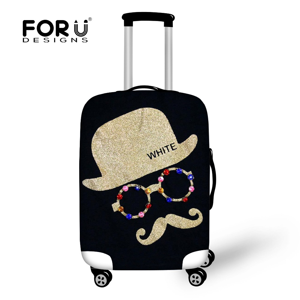 Cute Moustache Luggage Protective Cover Women Travel Accessories Elastic Suitcase Waterp ...