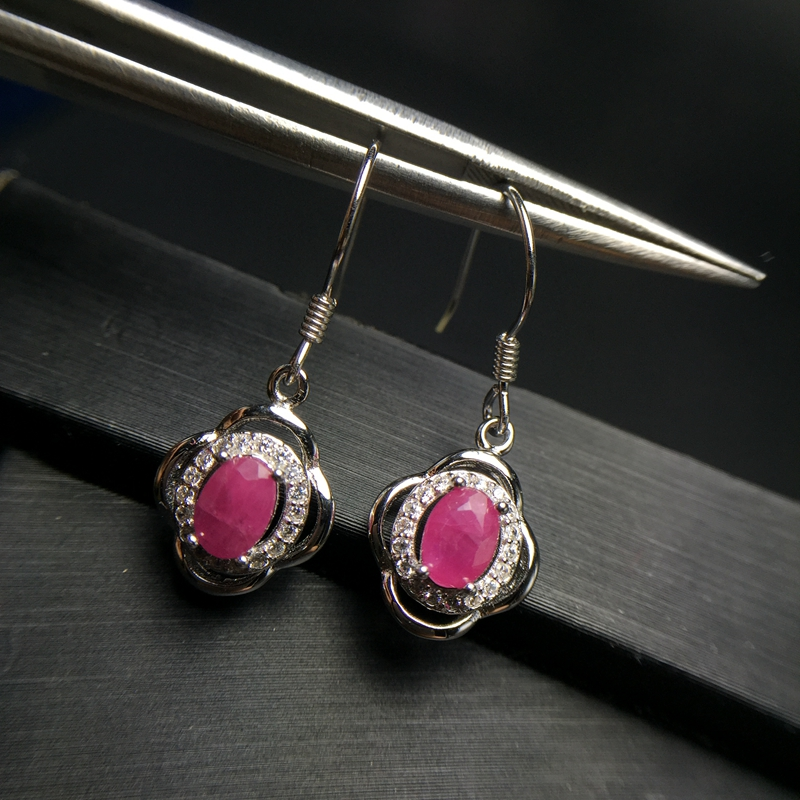 Boucles d'oreilles en pierre rouge rubis Almei pour femmes, boucles d'oreilles en argent Sterling 925 pour femmes filles 20% FR174 - 2
