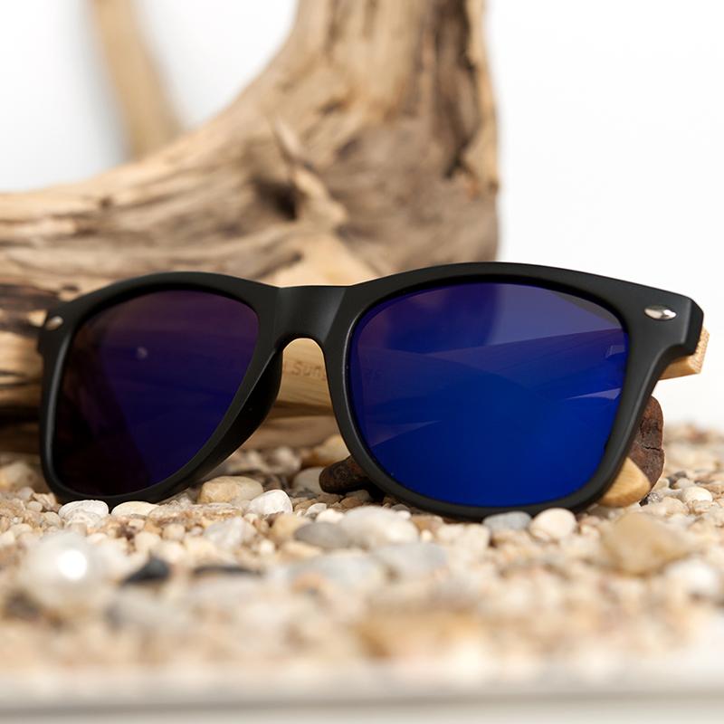 BOBO BIRD Black Square Sunglasses With Bamboo Mirrored 13