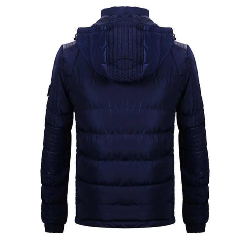 CALOFE 冬メンズランニングジャケット 2018 フード付き無地男性パーカー暖かいと防風男 Pu レザーミシン男性 2018