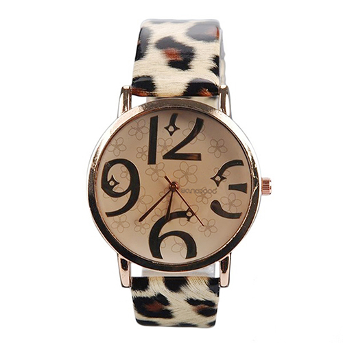 ladies womens watches Women's Casual Flowers Big Numbers Dial Faux Leather Strap Quartz Wrist Watch 4VP5 gimto horloge dames