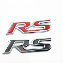 Car Styling RS Emblem Badge Trunk Sticker For Ford Focus Chevrolet Cruze Rio Skoda Octavia Mazda VW Hyundai Opel Seat