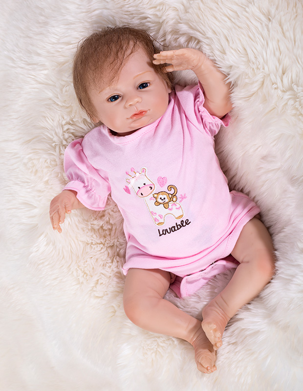 46cm With rooted hair 17Inch Handmade Baby Girl Dolls Reborn Silicone Vinyl Newborn Babies Princess Lifelike Toy Kids gift46cm With rooted hair 17Inch Handmade Baby Girl Dolls Reborn Silicone Vinyl Newborn Babies Princess Lifelike Toy Kids gift