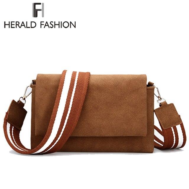 Herald Fashion Women Scrub Messenger Bag High Quality Leather Women s Flap Bag  Wide Strap Female Shoulder Bag Lady Crossbody Bag 758af211ea2da
