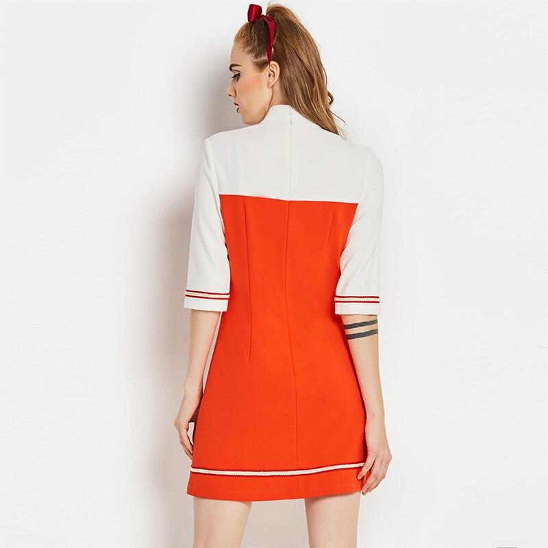 Dress - A Line 60s Vintage Autumn Turtleneck Colour Block Dress Vintage Style