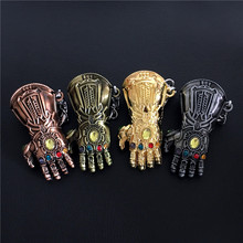 Movie Avengers Endgame 4 Final Battle Keychain Unlimited War Fighter Gloves Fist Pendant