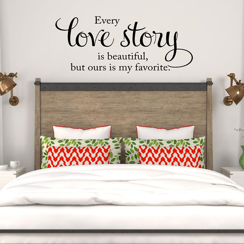 US $9.74 30% OFF Quotes Every Love Story Is Beautiful Wall Decal Wall Vinyl  Lettering Words Master Bedroom Bedhead Decor Romantic Wall Art LV08-in ...