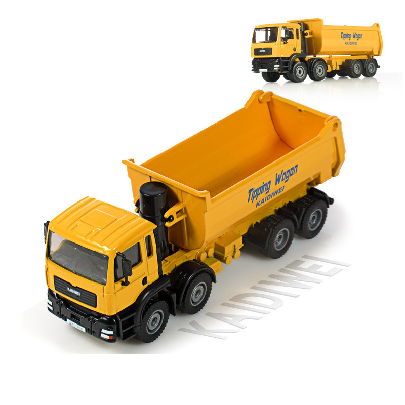 KAIDIWEI Alloy engineering <font><b>car</b></font> <font><b>model</b></font> toy all alloy 1:50 dump truck eight <font><b>wheel</b></font> truck toy <font><b>model</b></font> kid toys gift Yellow image