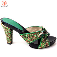 New Green Color Italian Lady Sexy High Heels Pumps Decorated with Rhinestones Italian Design African Sandals for Wedding Party