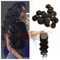 7A Peruvian Body Wave 3 Bundles With Silk Base Closure 4*4 Virgin Human Hair Extensions Jet Black Color No Shedding FreeShipping
