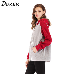 2018 New Zipper Patchwork Hoodie Women Long Sleeve Pocket Hooded Sweatshirt Casual Autumn Plus Size Jacket Moletom Feminino 5XL 4