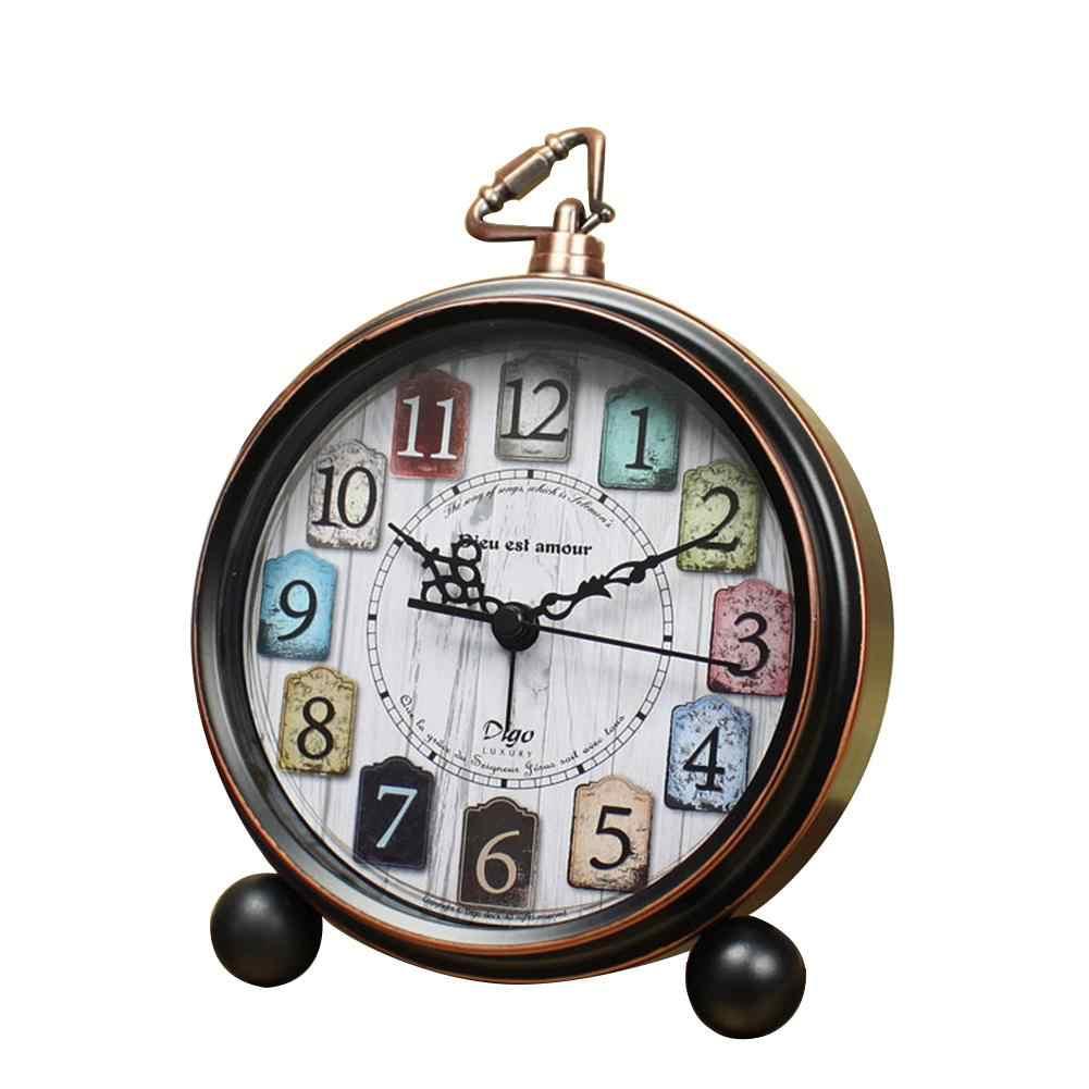 b1cb6ef2 Ретро-будильник инновационные студенческие настольные часы Железные  Украшения настольные часы круглые иглы Стиль Часы