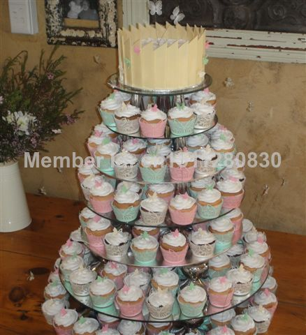 7 Tier Crystal Clear Circle Round Acrylic Cupcake Tower Stand ...