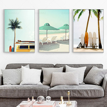 Wall Art Beach Seascape Canvas Painting Print Figure Poster Surf Board Nordic Style Modular Picture Bedroom Unframed