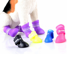 High Quality 4Pcs/ Lot Dog Shoes Dog Candy Colors Boots Waterproof Rubber Pet Rain Shoes Booties