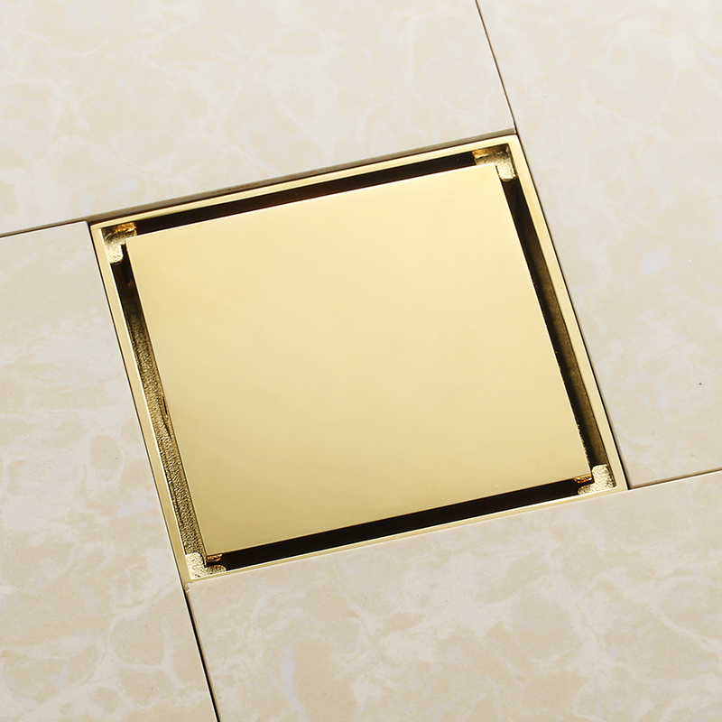 Luxury gold solid brass 100 x 100mm square anti-odor floor drain golden bathroom invisible shower drain shower room drainer
