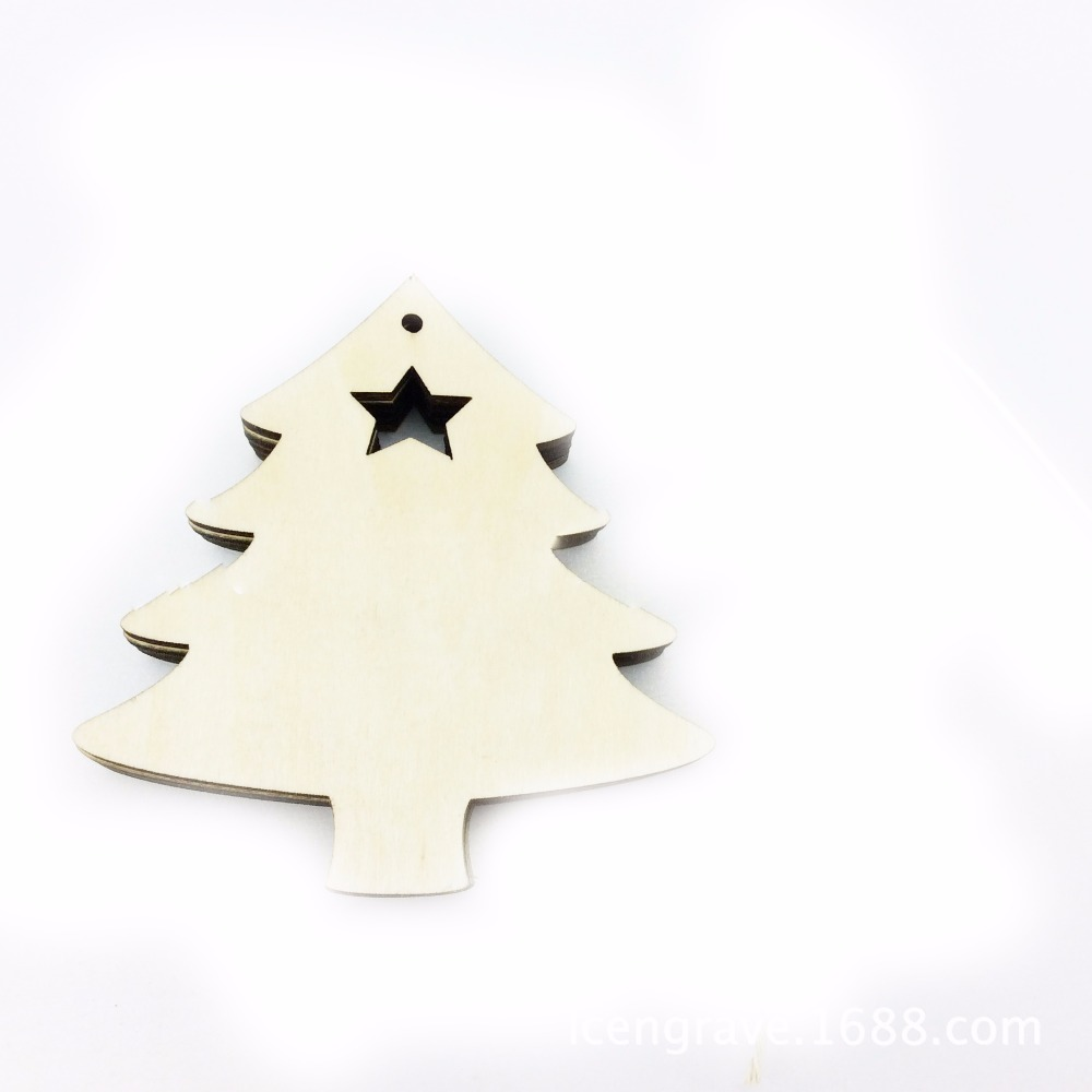 Small wooden christmas tree ornaments - 20pcs Plain Christmas Ornaments Natural Wood Small Reindeer Tree Christmas Decoration Ornament China Mainland