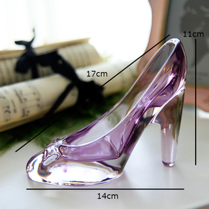 Image 3 - Crystal shoes glass slipper birthday gift home decor Cinderella High heeled shoes Wedding shoes figurines miniatures ornament