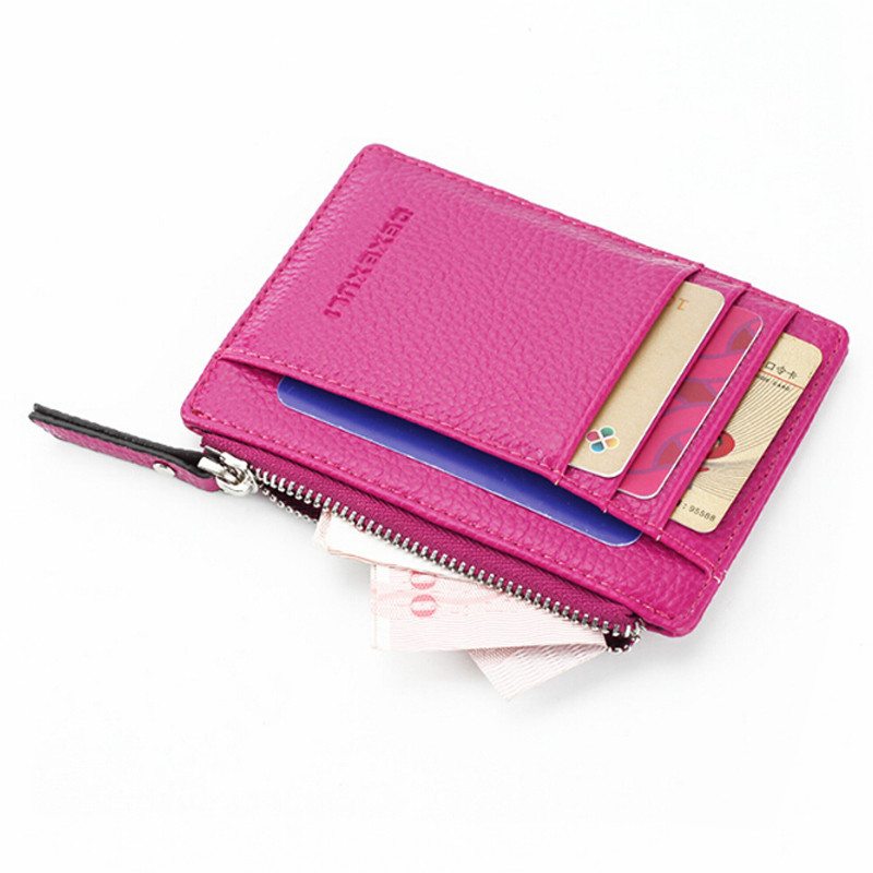 Wallet Mini PU Leather Card Holders Card Slots Purse Small Men Wallet Women Zipper Coin Pocket Ultra Thin Wallet
