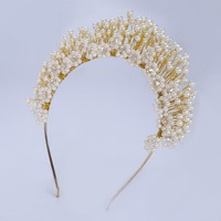 TUANMING Luxurious Gold Color Headband Tiara Women Forehead Pearl Jewelry Hairband Hair Ornament Bride Gifts Wedding Accessories