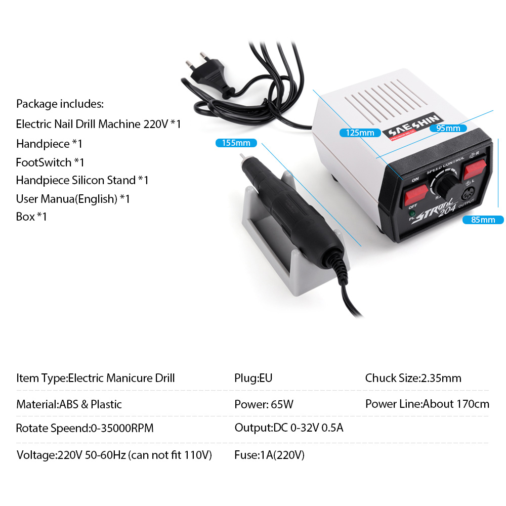 Image 4 - 35000RPM 65W Strong 204 102L 2.35 Electric Nail Drills Machine Manicure Pedicure File Bits Nails Sculpture Polish Art Equipment-in Electric Manicure Drills from Beauty & Health