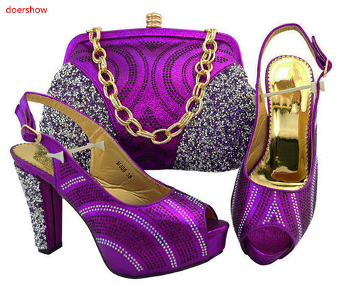 doershow New Arrival African Style purple Shoes and Bag Set Nigerian Party Shoes and Bag Set Wedding Shoes and Bag TGF1-41 doershow nigerian style woman shoes and bag set latest yellow italian shoes and bag set for party dress free shipping sab1 3