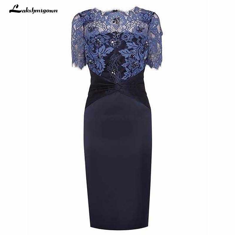 e4be26abeb4 Scalloped шеи Рубашка с короткими рукавами Темно-синие мать невесты платье  с кружевом Бисер вечернее