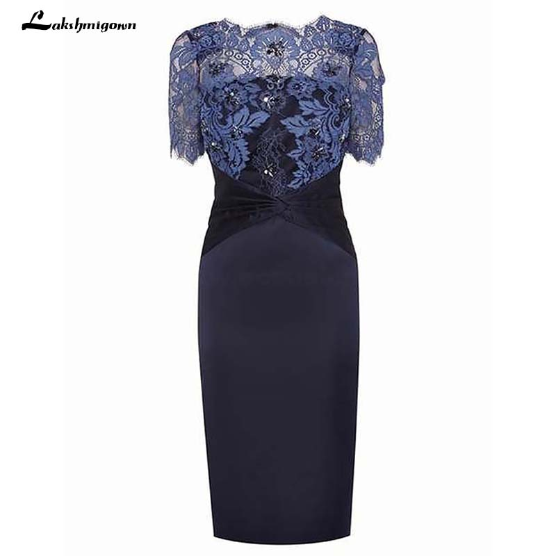 Scalloped Neck Short Sleeves Navy Blue Mother Of The Bride Dress With Lace Beading Evening Dress Formal Wedding
