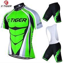 X-Tiger Krótki Rękaw Jazda Na Rowerze Jersey zestaw Mąki Zielone Mans Lato Odzież Rowerowa Maillot MTB Rowerowe Odzież Conjunto Ropa Ciclismo