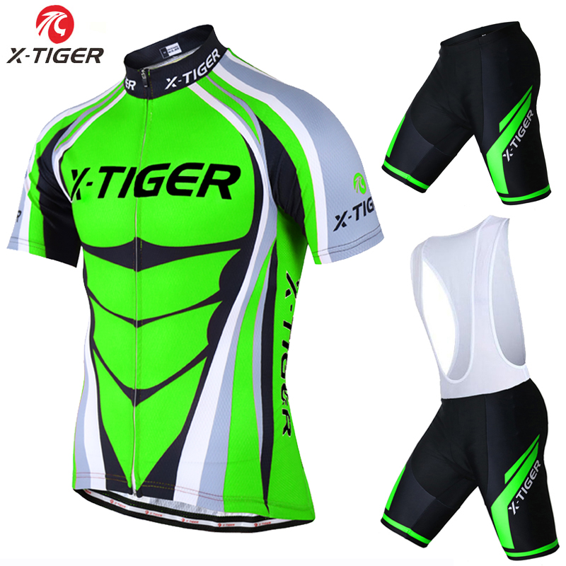 X-Tiger Short Sleeve Cycling Jersey set Flour Green MTB Bike Clothes Mans Summer Bicycle Clothing Maillot Conjunto Ropa Ciclismo