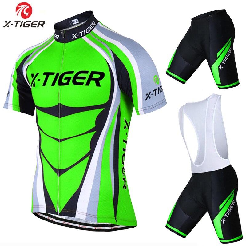 Prix pour X-Tigre Manches Courtes Vélo Maillot set Farine Vert VTT Vélo Vêtements Mans D'été Vélo Vêtements Maillot Conjunto Ropa Ciclismo