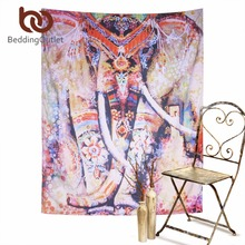 BeddingOutlet Bohemia Colored Elepahant Tapestry Indian Style Boho Tapestry Wall Hanging 130x150cm 153x203cm Art Wall Carpet