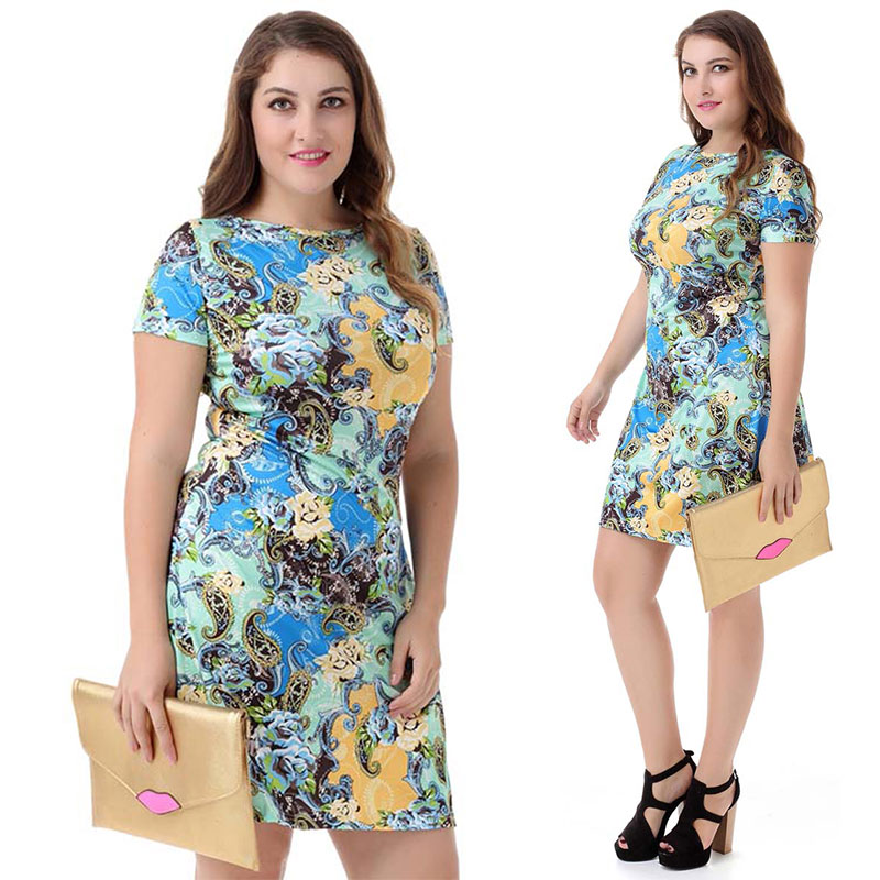 Printing Casual Big Size Short Sleeve Plus Size Clothes Women Dress