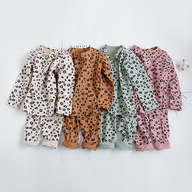 Spring Autumn Baby Boys Girls   Pajamas     Set   2-8yrs Children Kids Print Leopard Sleepwear Lounge Wear Cotton Girls Evening Dress