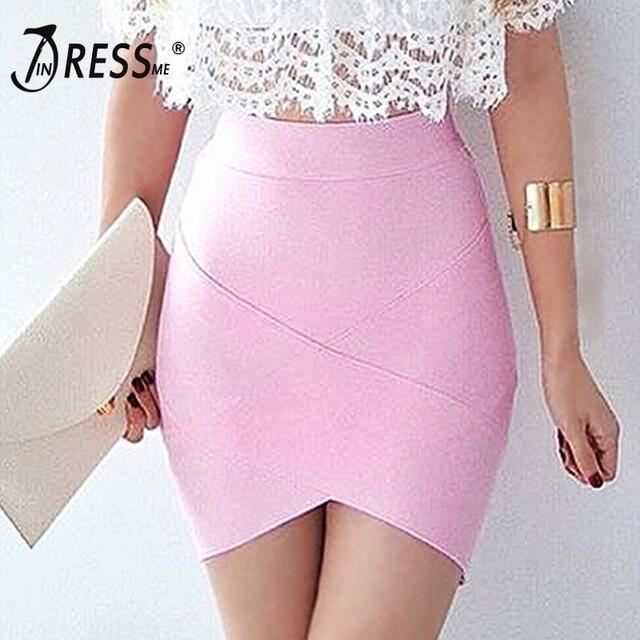 INDRESSME 2018 Women's Mini Irregular Elastic Bandage Skirts Sexy Slim Pencil Bodycon Skirts Summer Wholesale