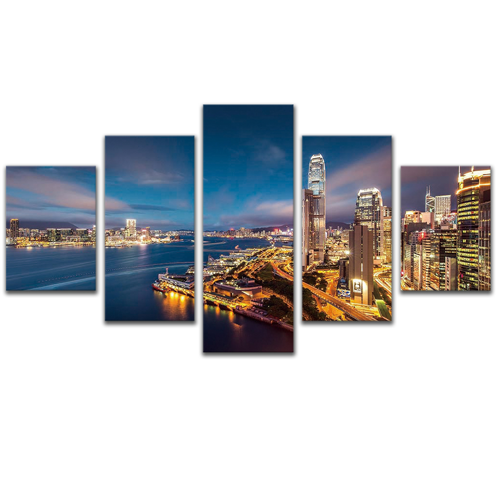 Unframed Canvas Painting Seaside City Night Scene Photo Picture Prints Wall Picture For Living Room Wall Art Decoration